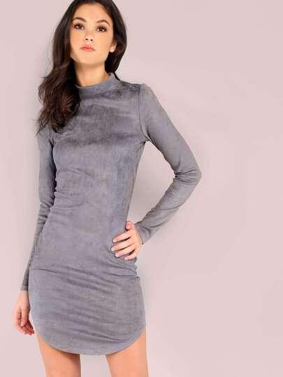 Vestido ajustado con cuello alto - gris