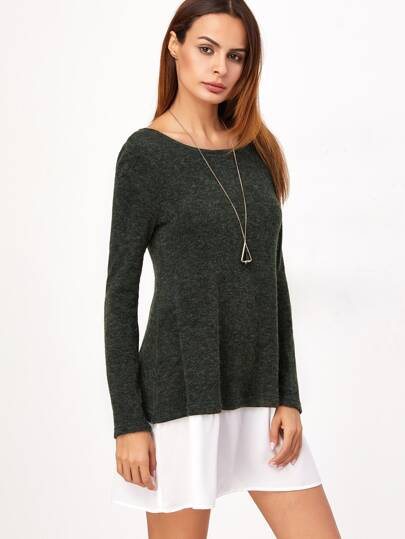Dark Green Contrast Trim Long Sleeve Sweater Dress