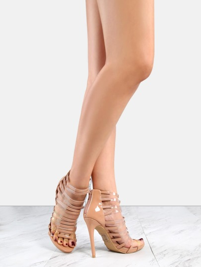 Patent Strappy Clear Strap Heels TAUPE