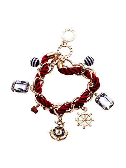 Burgundy Embellished Braided Rope Bracelet