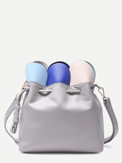 Grey Petal Wrap Drawstring Bucket Bag