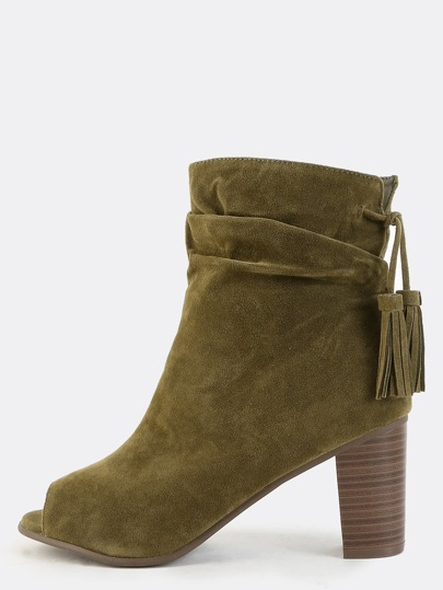 Peep Toe Faux Suede Ankle Boots OLIVE