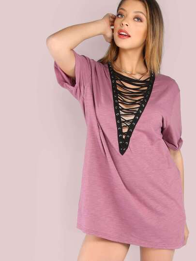 Oversized Strappy Bust Shirt Dress DUSTY PLUM
