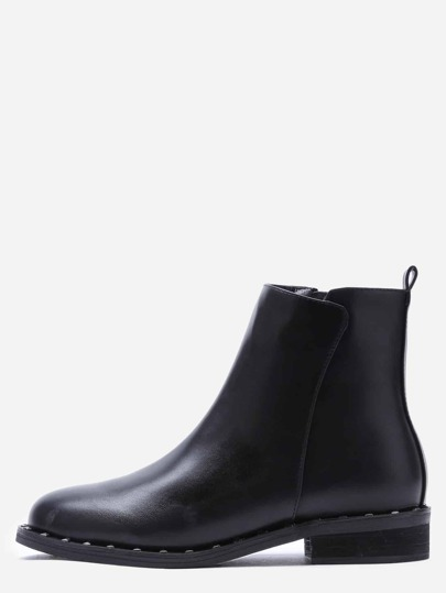 чёрные кожаные ботинки с молнией