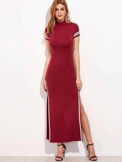 Burgundy Striped Trim Open Back High Split Maxi Dress
