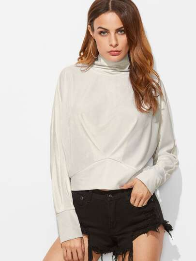 White Cowl Neck Pleated Front Sweatshirt