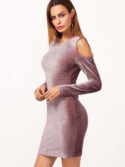 Texturierte Samt Kleid Cut-Outs Schulter-rosa