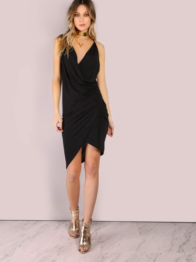 Low Back Overlap Bodycon Dress BLACK