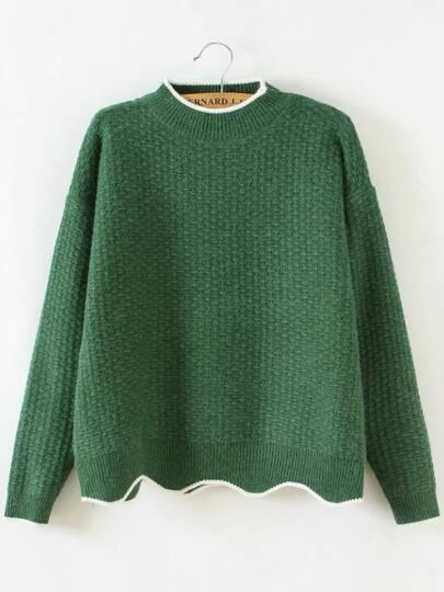 Green Contrast Trim Crew Neck Scalloped Hem Sweater