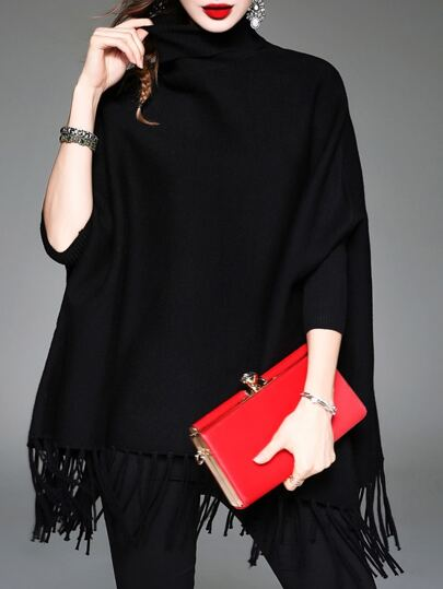 Black High Neck Tassels Cape Blouse