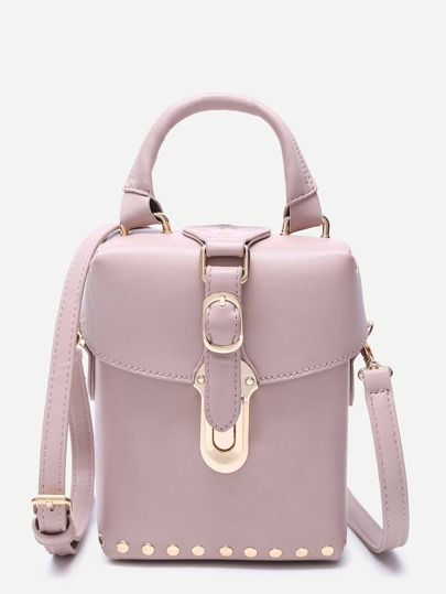 Pink Faux Leather Buckle Strap Studded Boxy Shoulder Bag