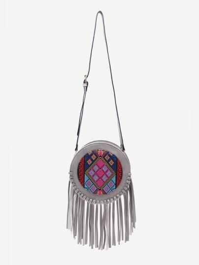 Grey Tribal Print Round Shaped Fringe Shoulder Bag