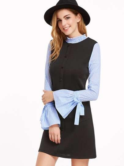 Контрастное модное платье с полосатыми рукавами рукав клёш