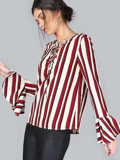 Multicolor Striped Lace Up Bell Sleeve Blouse