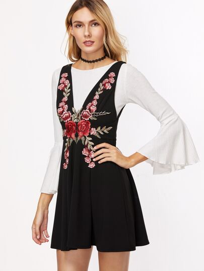 Black Flower Embroidered Double V Neck Sleeveless Skater Dress