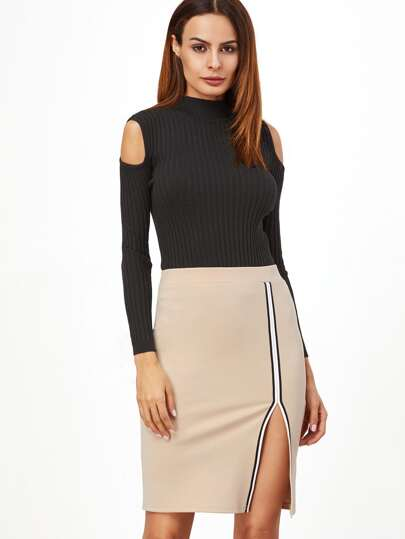 Striped Trim Slit Front Skirt