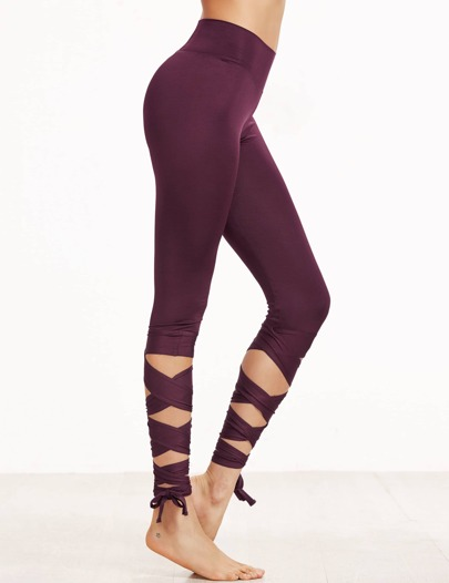 Purple Crisscross Wrap Leggings