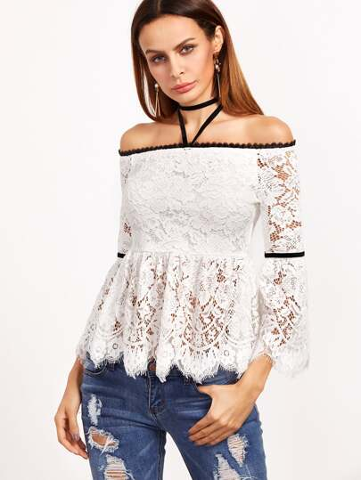 White Off The Shoulder Floral Lace Peplum Top