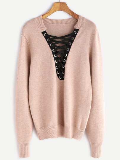 Pink Eyelet Lace Up Plunge Neck Sweater