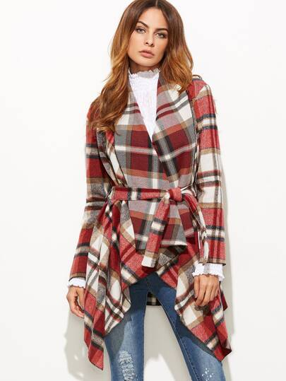 Red Plaid Waterfall Collar Asymmetric Wrap Coat