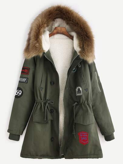 Army Green Patches Drawstring Hooded Faux Fur Trim Parka