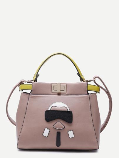 Cute Cartoon Patch Pink PU Shoulder Bag