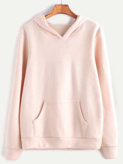 Pink Hooded Long Sleeve Pocket Sweatshirt