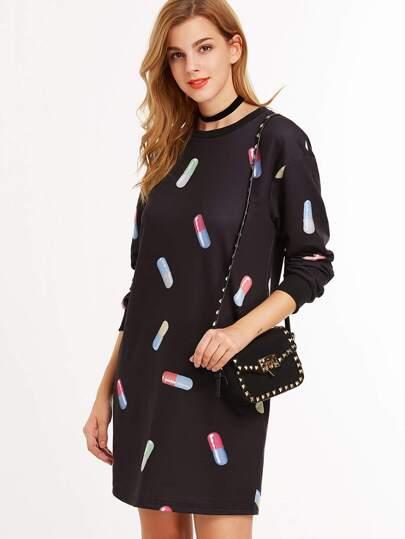 Black Capsule Print Long Sleeve Sweatshirt Dress