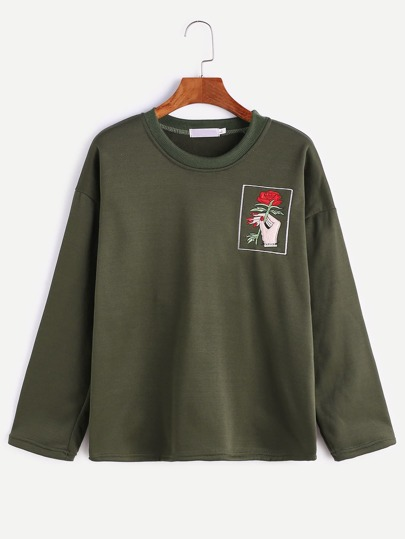 Army Green Hand And Rose Embroidery T-shirt