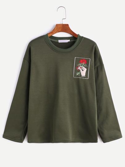 T-shirt Hand und Rosa Stickereien-armeegrün