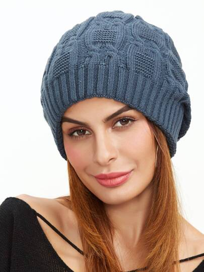 Dark Grey Cable Textured Knit Beanie Hat