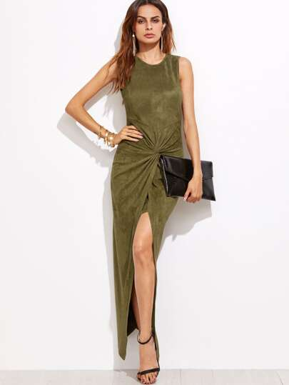 Olive Green Suede Twist Front Asymmetric Dress
