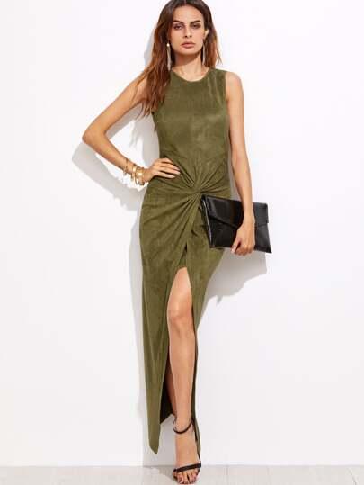 Olive Green Faux Suede Twist Front Asymmetric Dress