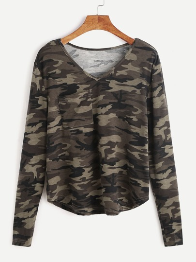 Olive Green Camo Print V Neck Pocket Front T-shirt