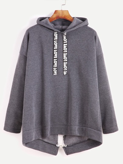 Grey Zipped Back Drop Shoulder Hooded Sweatershirt