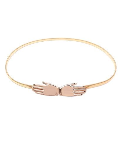 Hand Buckle Golden Metal Slim Elastic Belt
