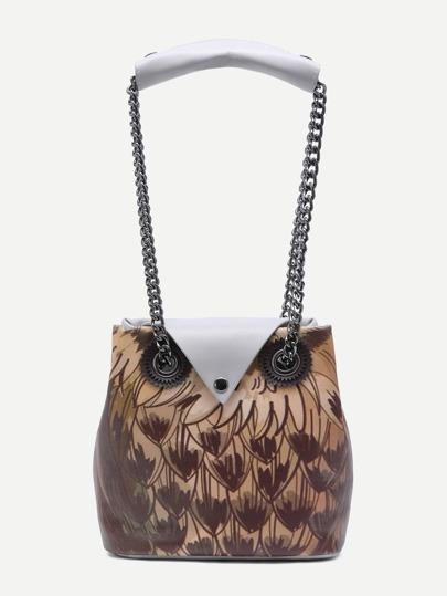Grey Night Owl Design Button Closure Chain Strap Tote Bag