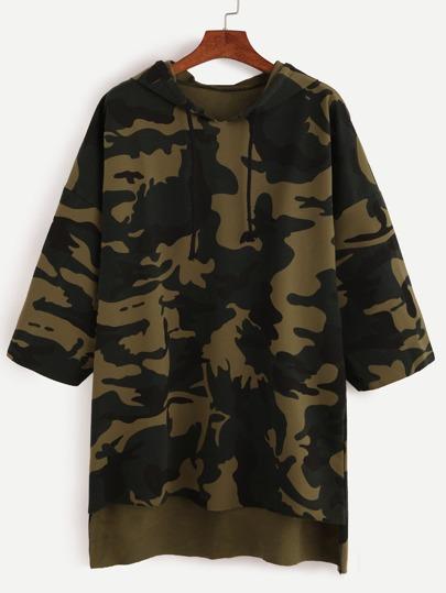 Camo Print Dip Hem Hooded Sweatshirt