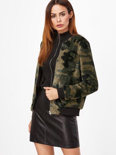 Olive Green Camo Fluffy Fleece Bomber Jacket
