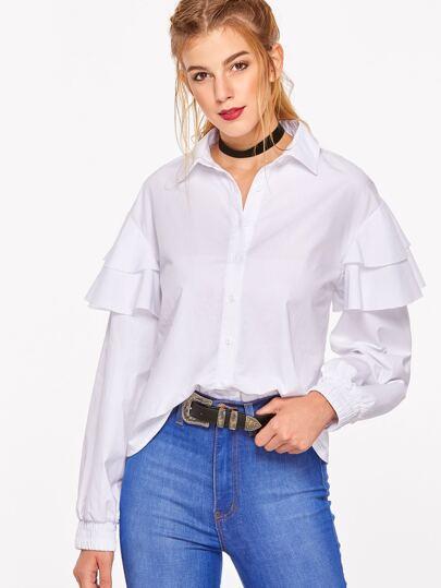 White Layered Ruffle Sleeve Elastic Cuff Blouse