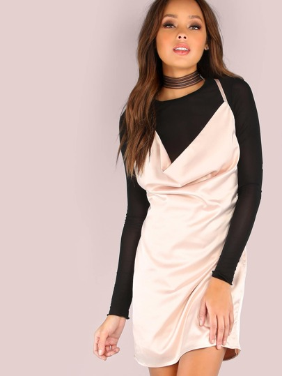Low Cowl Satin Mini Dress CHAMPAGNE