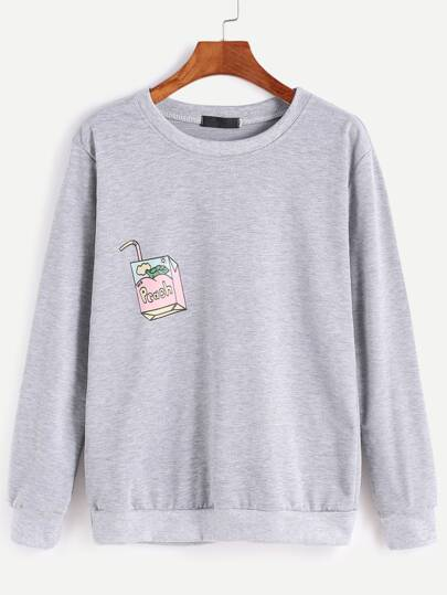Grey Ribbed Trim Drawing Print Sweatshirt