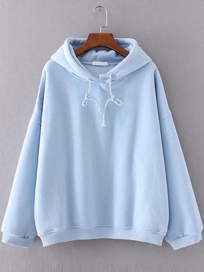 Blue Drop Shoulder Hooded Oversized Sweatshirt