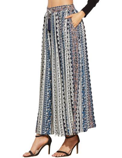 Falda con estampado étnico con detalle de flecos - multicolor