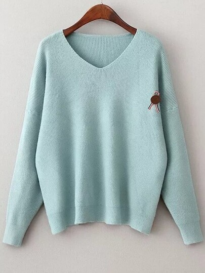 Blue V Neck Drop Shoulder Loose Sweater With Brooch