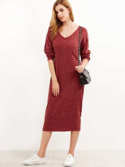 Burgundy Marled Drop Shoulder Cocoon Sweater Dress