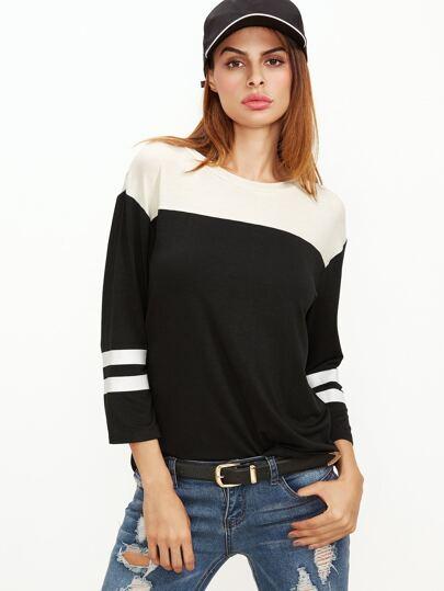 T-Shirt à rayures à l'épaule laissé -blanc et noir