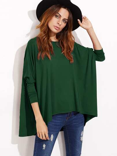 Green Boat Neck Oversized Dolman Sleeve T-shirt