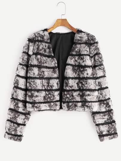 Abrigo sin cuello con piel sintética de rayas - gris