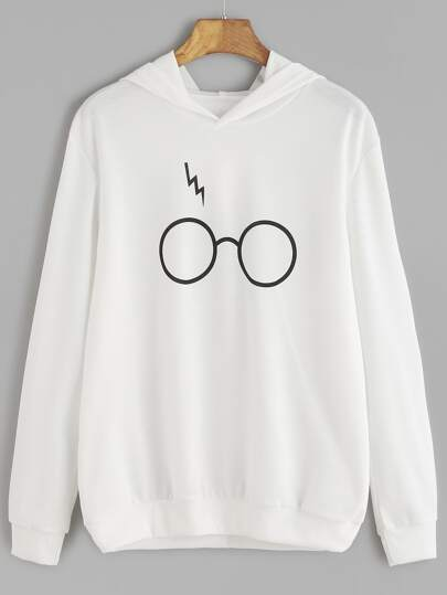 White Eyeglass Print Hooded Sweatshirt